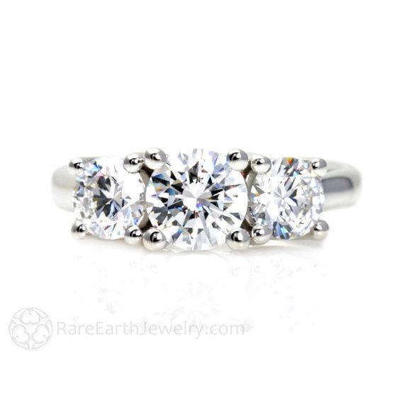 Mariage - 3 Stone Moissanite Engagement Ring Woven Prongs Moissanite Ring Conflict Free Diamond Alternative Custom Bridal Jewelry