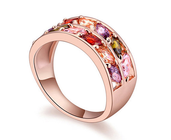 Mariage - womens double band engagement wedding casual ring