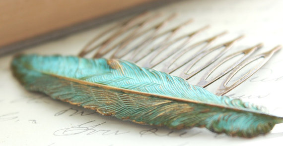 Wedding - Big Feather Hair Comb Teal Verdigris Patina Comb Bridal Hair Comb Woodland Wedding Bird Hair Accessories Rustic Nature Bridesmaids Gift