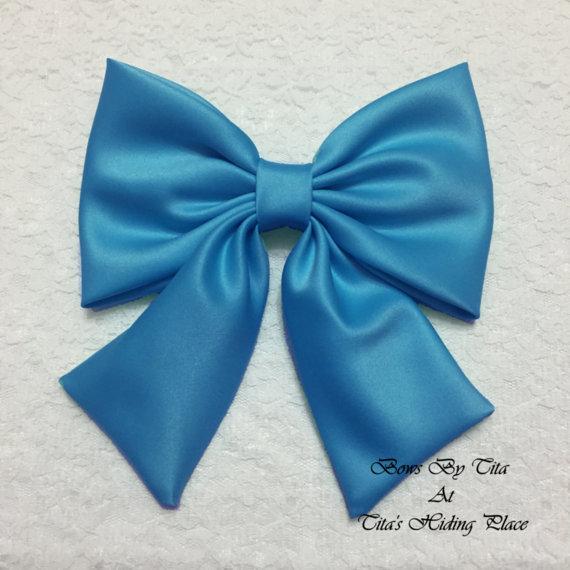Wedding - Blue Jewel Extra Large Satin Fabric Hair Bow/ Blue Wedding Bow/ Prom Large Bow/ Big Bow,/Retro Hair Bow/ Fabric Hair Bow/ attachable bow
