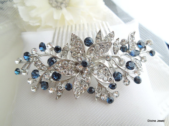 Wedding - Bridal Blue Swarovski Crystal Wedding Comb,Wedding Hair Accessories,Vintage Style Blue Leaf Rhinestone Bridal Hair Comb,Blue,Clip,Bride,KATY