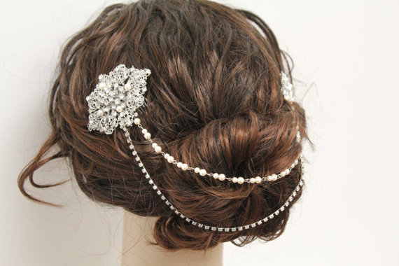 Wedding - Bridal Hair Chain wedding hair comb bridal hair comb wedding headpiece bridal hair accessory wedding jewelry bridal hair piece wedding comb