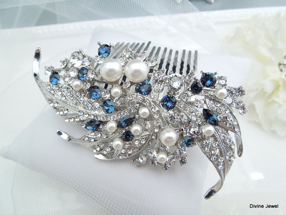 Mariage - Blue Swarovski Crystal and Pearl Wedding Comb Wedding Hair Accessories Vintage Style blue wedding hair comb Bridal Hair Comb Pearl hair ETTA