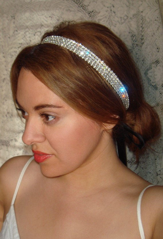 Wedding - Rhinestone headband, bridal headpiece,  bridal headband, hair accessories, weddings, wedding, Charlize headband- ROCK CANDY