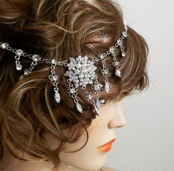 Wedding - Bridal Rhinestone Headpiece, Gatsby Headpiece, Pearl Rhinestone Headpiece, Bridal Rhinestone Headband, Rhinestone Bridal Hairpiece