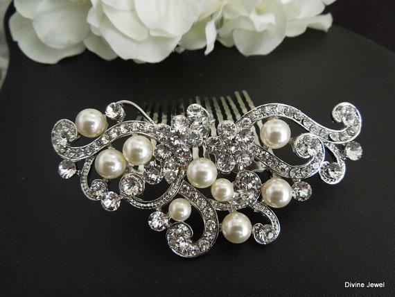 زفاف - Bridal Pearl Swarovski Crystal Pearl Wedding Comb,Wedding Hair Accessories,Vintage Style Leaf Rhinestone Bridal Hair Comb,Pearl,Bride,KENDRA
