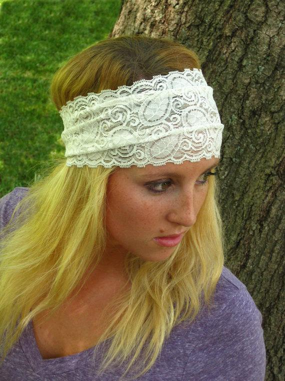 زفاف - White Stretchy Lace Headband / Bridal Lace Headband / Comfortable Hairband / 5 inch Lace Head Piece- Women's Gift Guide Best Selling Item