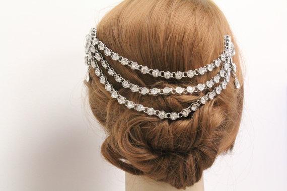 زفاف - Vintage Inspired Bridal Hair Chain Wedding Head Chain 1920's Bridal hair comb wedding hair comb bridal hair jewelry wedding hair jewelry