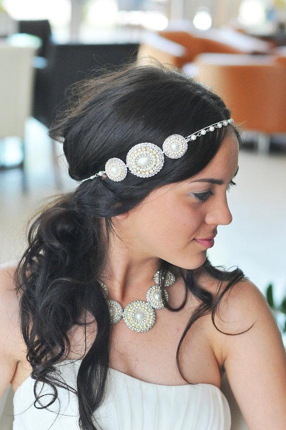 Wedding - Vintage beaded headband-handmade and unique-wedding headband or prom handband