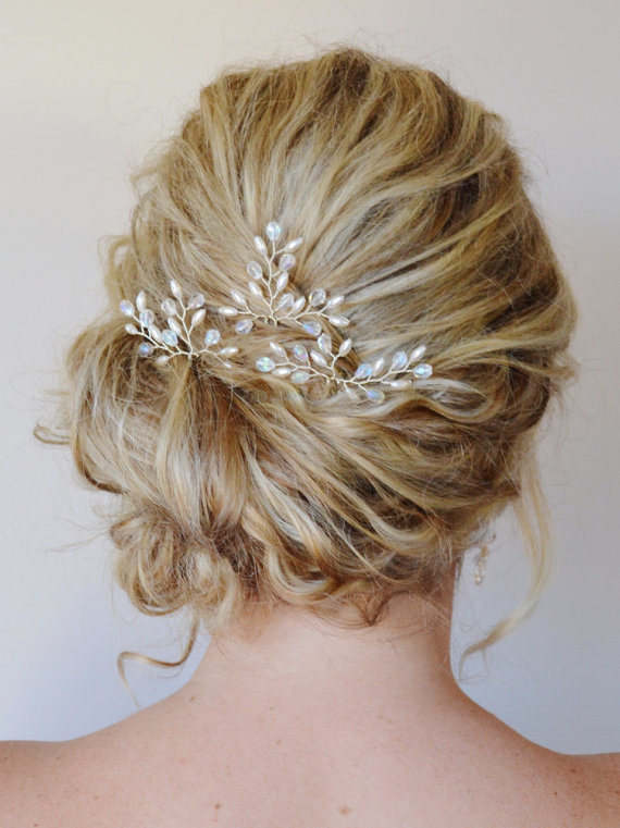 Hochzeit - Bridal Hair Accessories, Bridal Hair Pins, Pearl Crystal Hair Pins, Formal Hair Pins, Wedding Hair piece, Grecian Branch Hair Pins, Set of 3