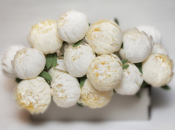 Свадьба - paper flowers, wedding bouquet, paper flower, paper flower bouquet, wedding flowers, wedding peonies, ivory peonies, paper peonies