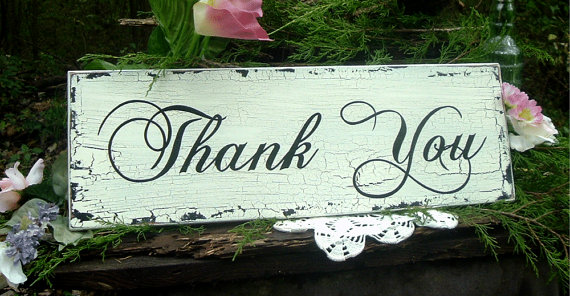 Painted Thank You Sign Rustic Wedding Wood Photo Prop