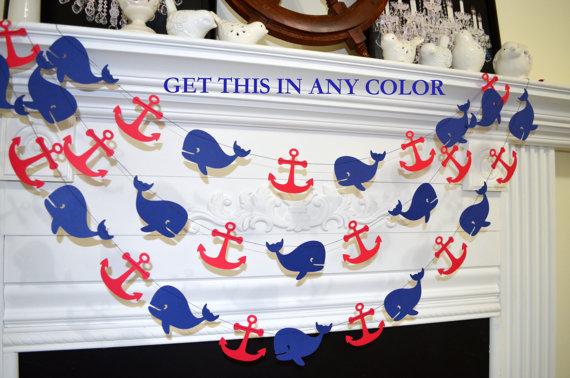 Свадьба - Whale Garland, Nautical Anchor whale decoration, nautical baby shower, Grey navy whale teal anchor wedding garland, nautical bride/birthday