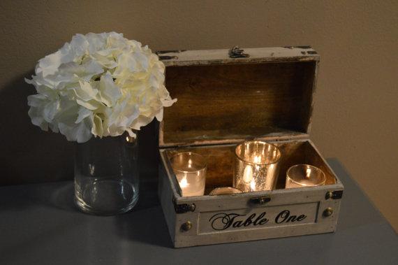 Wedding - Vintage Wedding Table Number, Unique Rustic Table Number, Vintage Trunk with Script Number, Wedding Table Number, Event Table Number A3A