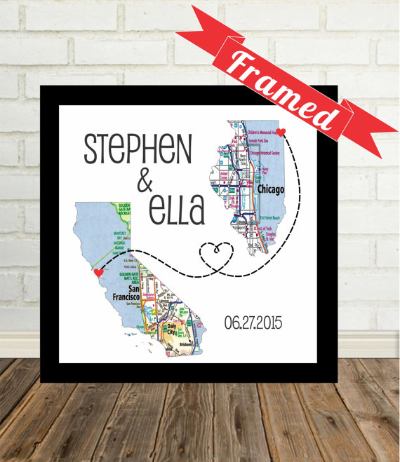 Mariage - Wedding Gift : Personalized Map Print FRAMED Unique Wedding Gift Any Location Available Long Distance Love Map Art Gift For Couple