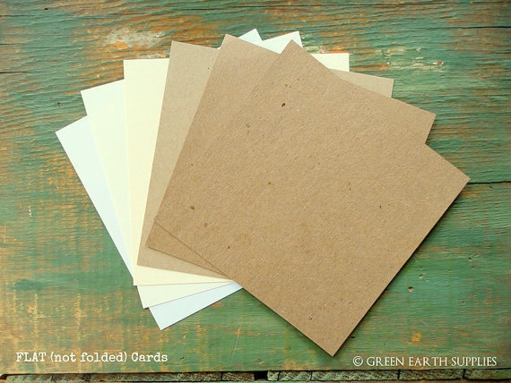 """Wedding - 25 Square Flat Cards: Choose 4"""", 4.25"""", 4.5"""" or 4.75"""" Recycled, Rustic Kraft Brown, Light Brown, White, Ivory, 65lb, 80lb, 100lb or 105lb"""