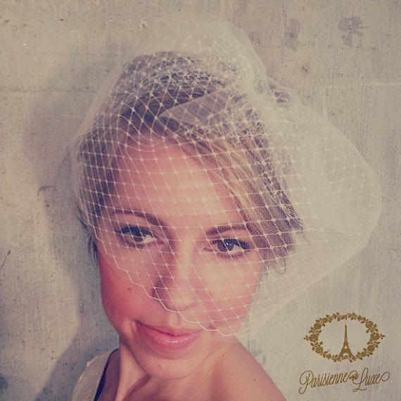 Mariage - LOUISE - birdcage veil double layer, blusher veil, tulle & russian netting veil, bridal double birdcage veil, bridal veil, bird cage veil