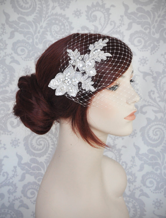 Hochzeit - Birdcage Veil with Lace and Crystals//Birdcage Veil with rhinestones//Bandeau Veil//Crystal Birdcage Veil//Lace Bird Cage Veil - 119BC