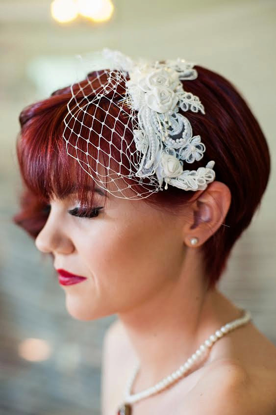 Hochzeit - Birdcage Veil - Detachable, Headband Veil with french netting lace and silk rosettes - ivory, white, silver, champagne - 102BC