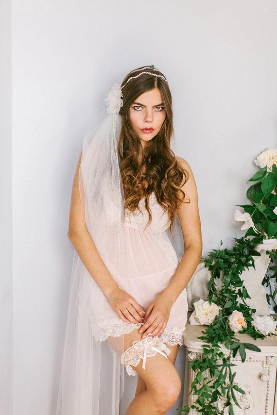 زفاف - Single Tier Waltz Length Veil, Long Veil in Ivory, white, Champagne, or Blush