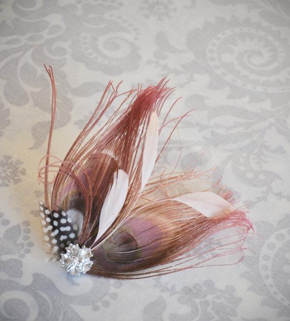Wedding - Blush Pink Bridal Hair Accessory, Pink Bridal Fascinator, Blush Peacock Feather, Bridal Hair Clip, Bridal Feather, Blush, Pink - 110HP