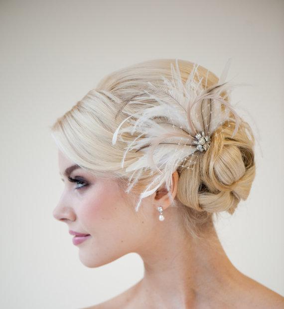 Bridal Fascinator, Wedding Head Piece, Feather Fascinator, Bridal ...