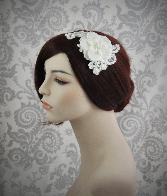 زفاف - Ready To Ship - Bridal Hair Flower, Bridal Hair Piece, Bridal Accessoriesr, Hair Accessories - Lace & flower hair piece - 114HP