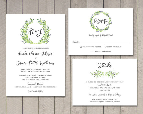 laurel wedding invitation rsvp details card printable by vintage