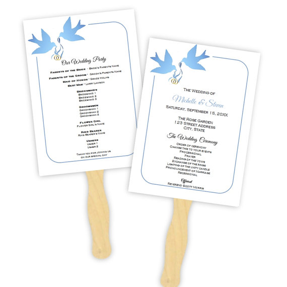 Mariage - Wedding Program Fan Template - Blue Doves Silhouette - DIY Printable Template - Instant Download - Microsoft Word File