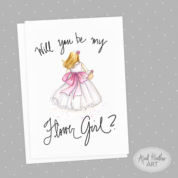 Wedding - Flower Girl-PDF Instant Download-Will you be my flower girl? card