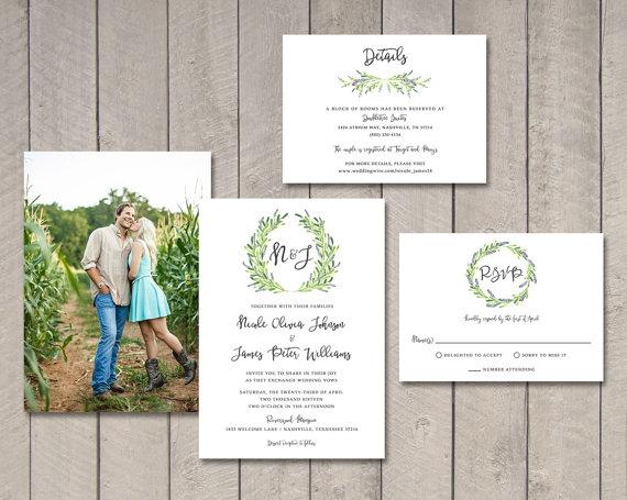 Hochzeit - Laurel Wedding Invitation, RSVP, Details Card (Printable) by Vintage Sweet