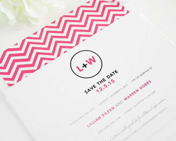 Mariage - Modern Circle Save the Date - Chevron Save the Date shown in Pink and Black, Funky, Unique, Urban - Deposit