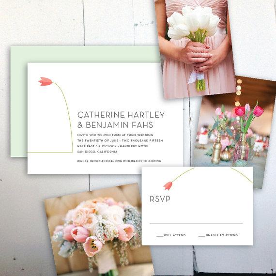 Mariage - Tulip Printable Wedding Invitation - JPress Designs, custom, wedding, modern, danish, design, simple, popular, flower, soft, pink, classic