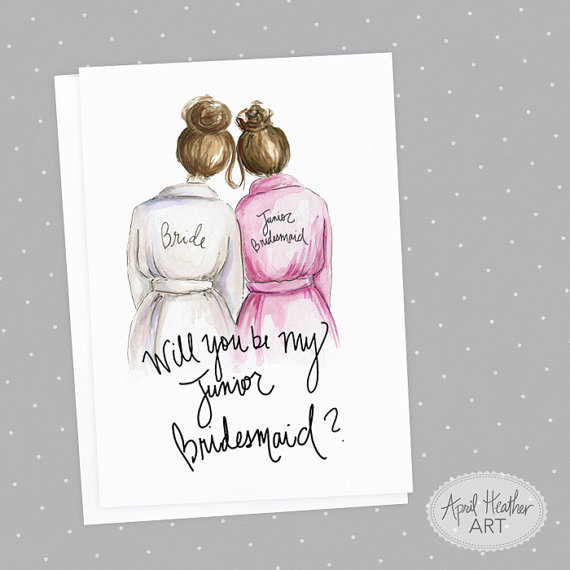 picture relating to Will You Be My Bridesmaid Free Printable known as Junior Bridesmaid PDF Obtain Brunette Bride, Brunette Bun