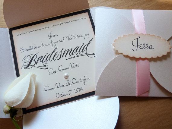 زفاف - Will You Be My Bridesmaid / Maid of Honor Invitation Personalized Card Invitation Vintage Wedding