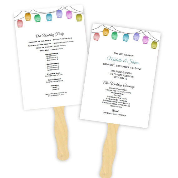 Wedding - Wedding Program Fan Template - Multi-color Hanging Lanterns ...