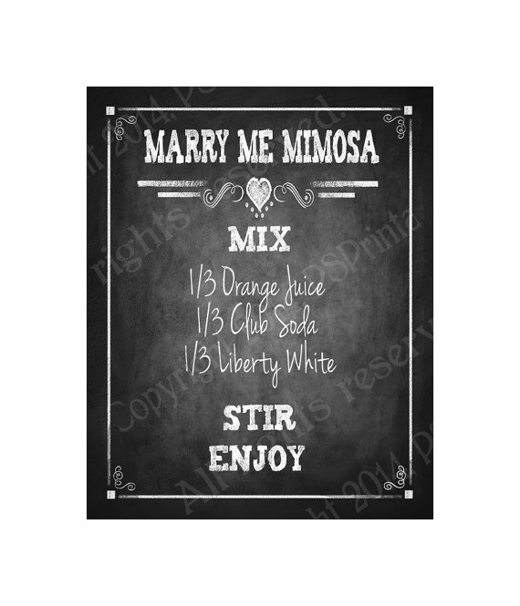 Свадьба - Marry Me Mimosa Recipe Wedding or Party Sign - Chalkboard Style Rustic Heart Collection -Wedding Signage