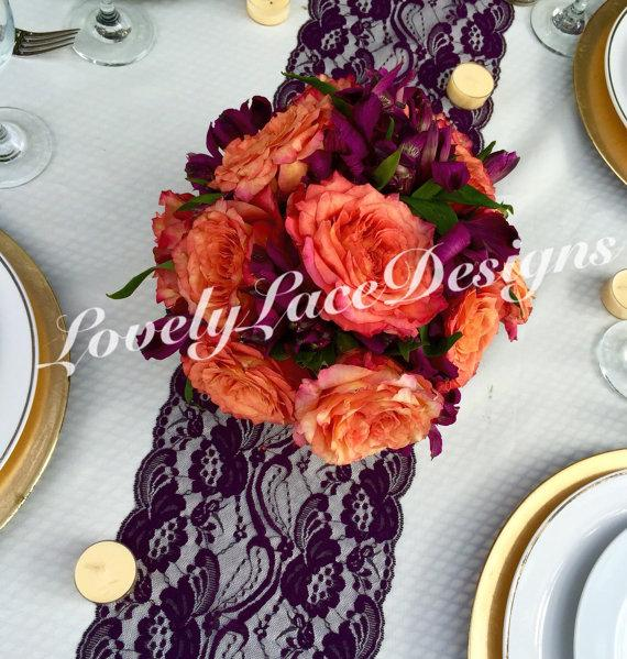 "Свадьба - Plum Lace Table Runner/ 7"" wide x12ft-20ft long/Wedding Decor/PLUM weddings/Party Decor/Etsy finds/Table top decor/fall decor/Autumn finds"