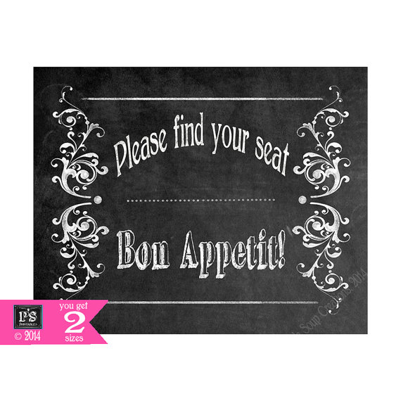 Свадьба - Printable Wedding Chalkboard Find your Seat Bon Appetit sign  - instant download digital file - DIY - Victoria Collection