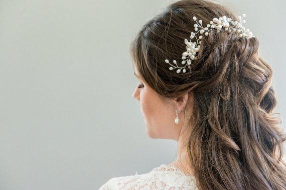 6a16d22b959a3 Bridal Hair Pin, Bridal Hairpin, Bridal Halo, Bridal Hairpiece ...