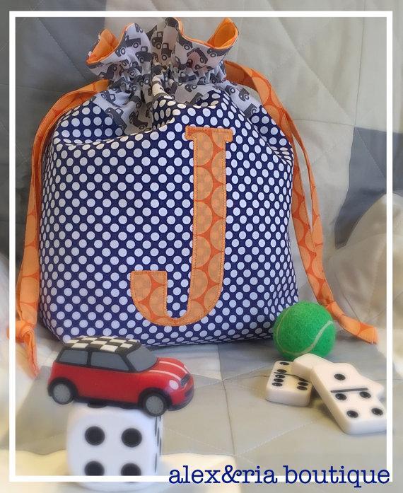 monogrammed drawstring bag ring bearer gift pul lining flower girl gift personalized bag for