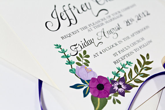 Mariage - Hand Painted Floral Wedding Invitation with Mix of Purple Flowers & Hand Written Calligraphy