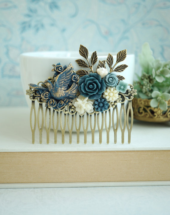Hochzeit - Blue Gold Dove Bird, Dusty Blue, Ivory, Pearl, Navy Grey Blue, Leaves, Rustic Flower LARGE Hair Comb. Bridesmaids Gift, Large Wedding Comb.
