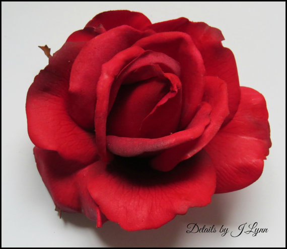 زفاف - Red Real Touch Open Rose Hair Flower Clip - Wedding or Prom
