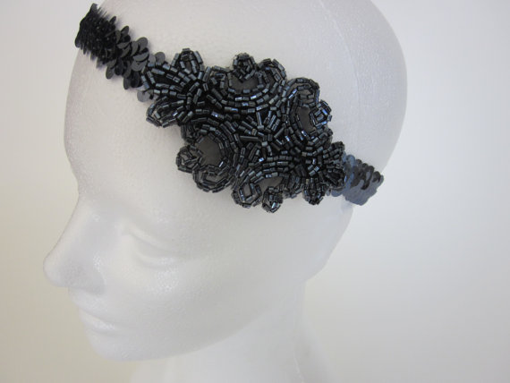 زفاف - Gatsby Headband Flapper Headpiece for Great Gatsby Dress 1920s Beaded Headpiece Pewter Dark Gray