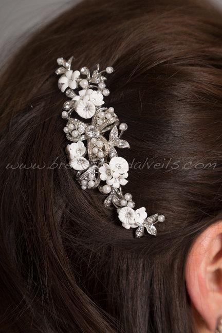 زفاف - Wedding Hair Comb, Rhinestone Hair Comb, Bridal Pearl Hair Comb, Porcelain Flower Headpiece - Carolina