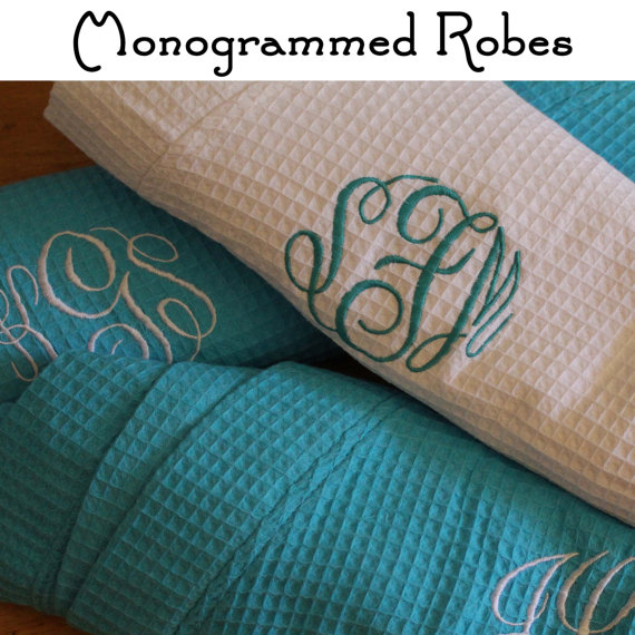 Свадьба - 4 Wedding Robes, Personalized Bridesmaid Robe Set of 4 ,Monogrammed Robes, Waffle Robe, Personalized Bridesmaid Gifts