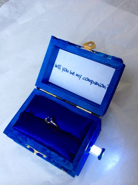 police box wedding ring box with led light handmade police