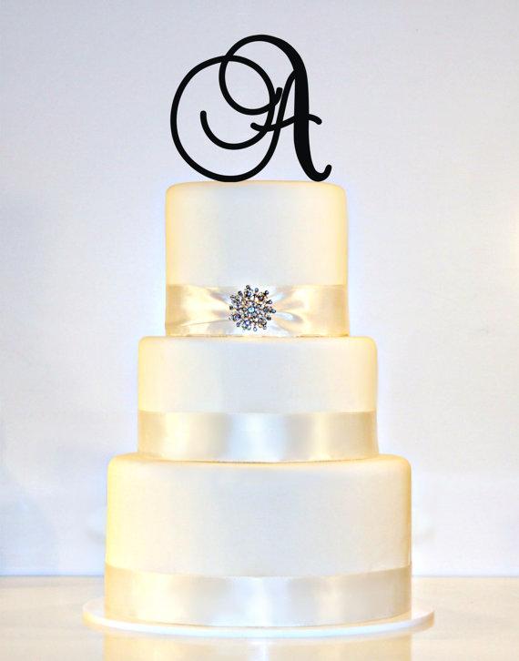 "زفاف - 5"" Monogram Wedding Cake Topper in ANY LETTER - A B C D E F G H I J K L M N O P Q R S T U V W X Y Z"