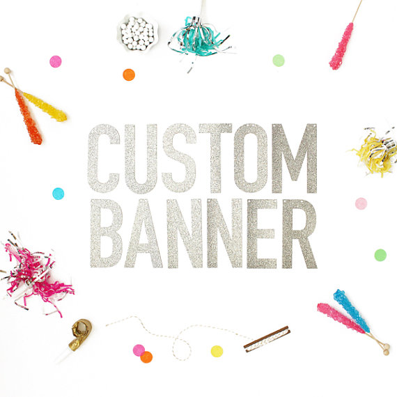Mariage - Custom Banner available in Either Gold Glitter or Silver Glitter - letters measure 5.5 inches high